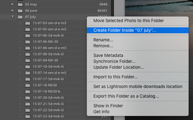 Create new folder Lightroom