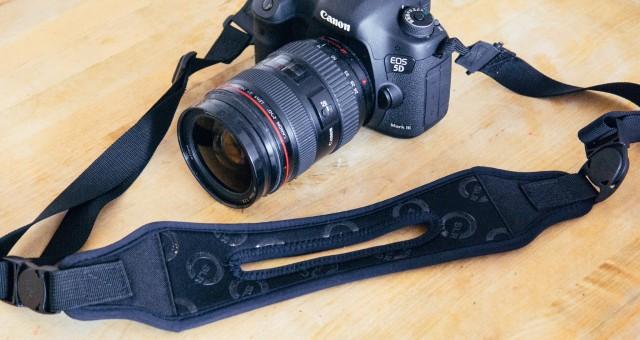 split strap attached to DLSR camera