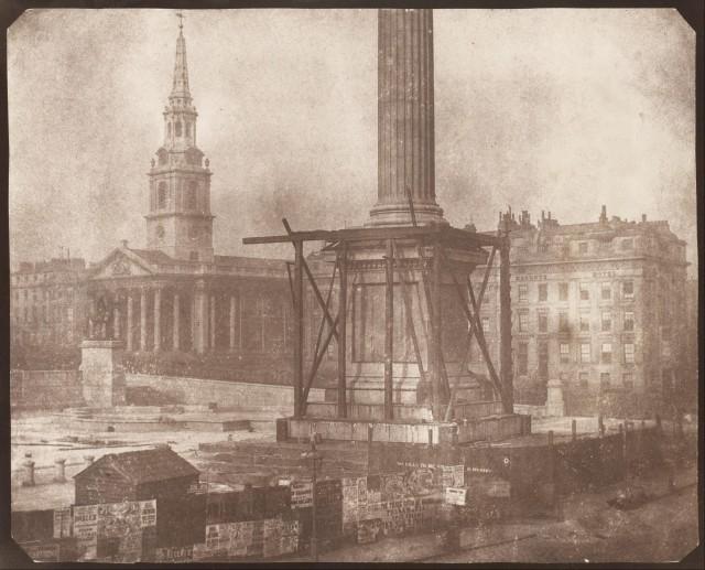 Nelsons column under construction by William Henry Fox Talbot - 1843