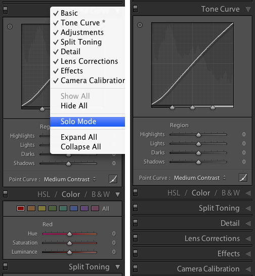 solo mode in Adobe Lightroom